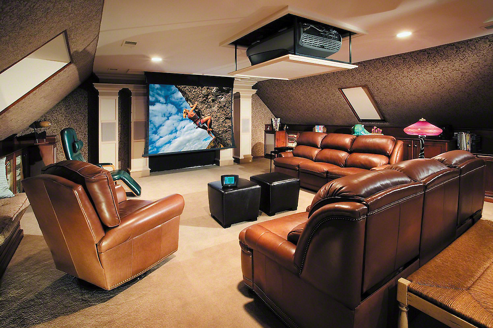 Chocolate Theater With Vaulted Ceiling