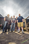 May 12, 2012. Raleigh, NC. Raleigh metal band Confessor outside of their practice space at Volume 11 Tavern.
