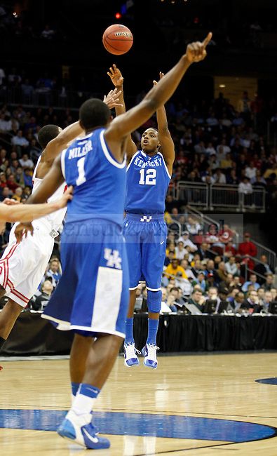Brandon Knight hits a shot in the end of the second half of UK's Sweet 16 NCAA tournament win, 62-60 against 1 seed Ohio State at the Prudential Center in Newark, New Jersey on Friday, March 25, 2011.  Photo by Britney McIntosh | Staff