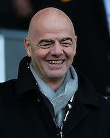 FIFA President Gianni Infantino smiles as he watches from the stands during the Barclays Premier League match between Swansea City and Norwich City played at The Liberty Stadium, Swansea on March 5th 2016