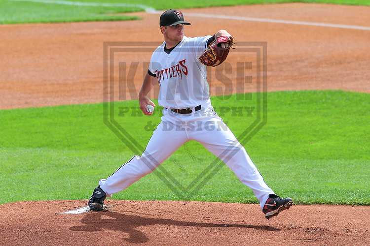 APPLETON - August 2014: Barrett Astin (17) of the Wisconsin Timber Rattlers during a game against the Beloit Snappers on August 26th, 2014 at Fox Cities Stadium in Appleton, Wisconsin.  (Photo Credit: Brad Krause)