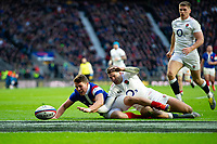 Antoine Dupont of France and Jonny May of England compete for the ball. Guinness Six Nations match between England and France on February 10, 2019 at Twickenham Stadium in London, England. Photo by: Patrick Khachfe / Onside Images