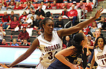 Ebonee Coates (#34), Washington State senior, guards the key during the Cougars game against Montana State in Pullman, Washington, on November 23, 2008.  The Cougars prevailed in the contest, 78-66.