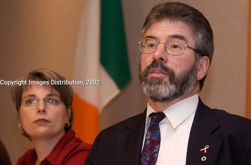 November 10,  2002, Montreal, Quebec, Canada; <br /> <br /> Sinn Fein-leader Gerry Adams adress the medias November 10, 2002 in  Montreal, CANADA.<br /> <br /> <br /> <br /> <br /> <br /> <br /> (Mandatory Credit: Photo by Sevy - Images Distribution (&copy;) Copyright 2002 by Sevy<br /> <br /> NOTE :  D-1 H original JPEG, saved as Adobe 1998 RGB.<br />  Uncompressed and uncropped original  size file available on request.