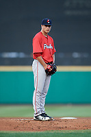 Pawtucket Red Sox starting pitcher Jalen Beeks (21) gets ready to deliver a pitch during a game against the Rochester Red Wings on July 4, 2018 at Frontier Field in Rochester, New York.  Pawtucket defeated Rochester 6-5.  (Mike Janes/Four Seam Images)