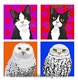 Kate, CUTE ANIMALS, LUSTIGE TIERE, ANIMALITOS DIVERTIDOS, paintings+++++Graphic cats and dogs 3,GBKM315,#ac#, EVERYDAY ,cat,cats ,puzzle,puzzles