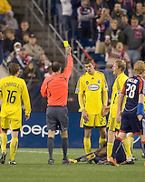 Columbus Crew defender Eric Brunner (23) receives yellow card warning. The Columbus Crew defeated the New England Revolution, 1-0, at Gillette Stadium on October 10, 2009.