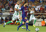 Leo Messi in action during La Liga game between FC Barcelona v Betis at Camp Nou