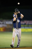 Asheville Tourists shortstop Brendan Rodgers (1) settles under a pop fly during the game against the Kannapolis Intimidators at Intimidators Stadium on May 28, 2016 in Kannapolis, North Carolina.  The Intimidators defeated the Tourists 5-4 in 10 innings.  (Brian Westerholt/Four Seam Images)