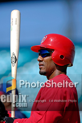 15 March 2006: Damian Jackson, infielder for the Washington Nationals, takes batting practice prior to a Spring Training game against the New York Mets. The Mets defeated the Nationals 8-5 at Space Coast Stadium, in Viera, Florida...Mandatory Photo Credit: Ed Wolfstein..