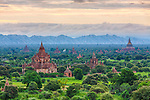 Ancient Buddhist temples dot the plains of Bagan, Myanmar