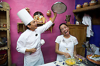 A cooking class taught by Chel Alonso Hernandez, participants learnt to make the traditional seasonal Chile En Nogada dish. Mesones Sacristia Puebla