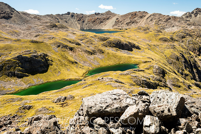 Pristine lakes of Lake Angelus and emerald Hinapouri Tarns, Nelson Lake National Park, South Island, New Zealand, NZ