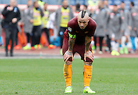 Roma&rsquo;s Radja Nainggolan reacts at the end of the Italian Serie A football match between Roma and Napoli at Rome's Olympic stadium, 4 March 2017. Napoli won 2-1.<br /> UPDATE IMAGES PRESS/Riccardo De Luca