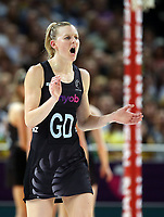 14.10.2017 Silver Ferns Katrina Grant in action during the Constellation Cup netball match between the Silver Ferns and Australia at QudosBank Arena in Sydney. Mandatory Photo Credit ©Michael Bradley.