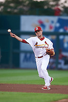 Springfield Cardinals shortstop Aledmys Diaz (16) throws to first during a game against the Frisco RoughRiders  on June 4, 2015 at Hammons Field in Springfield, Missouri.  Frisco defeated Springfield 8-7.  (Mike Janes/Four Seam Images)