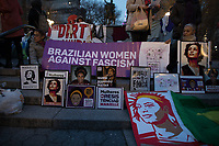 NEW YORK, NY - MARCH 8: Women display banners during a rally to mark International Women's Day at Union Square on March 08, 2019. (Photo by Maite H. Mateo/VIEWpress)
