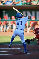 Luke Heyer (43) of the Ogden Raptors bats against the Orem Owlz at Lindquist Field on June 19, 2018 in Ogden, Utah. The Raptors defeated the Owlz 7-2. (Stephen Smith/Four Seam Images)