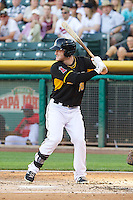 Zach Borenstein (18) of the Salt Lake Bees at bat against the Sacramento River Cats at Smith's Ballpark on June 6, 2014 in Salt Lake City, Utah.  (Stephen Smith/Four Seam Images)