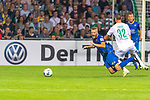 10.08.2019, wohninvest Weserstadion, Bremen, GER, DFB-Pokal, 1. Runde, SV Atlas Delmenhorst vs SV Werder Bremen<br /> <br /> DFB REGULATIONS PROHIBIT ANY USE OF PHOTOGRAPHS AS IMAGE SEQUENCES AND/OR QUASI-VIDEO.<br /> <br /> im Bild / picture shows<br /> <br /> Marco Friedl (Werder Bremen #32) foult Marvin Osei (SV Atlas Delmenhorst #24) und erhaelt gelbe Karte durch Patrick Ittrich  (Schiedsrichter / referee)an <br /> Foto © nordphoto / Kokenge