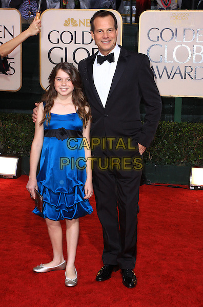 LYDIA & BILL PAXTON.67th Golden Globe Awards held Beverly Hilton, Beverly Hills, California, USA..January 17th, 2010.globes full length shirt blue dress father dad daughter family white jacket black tuxedo  .CAP/ADM/KB.©Kevan Brooks/Admedia/Capital Pictures