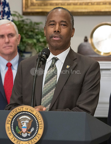United States Secretary of Housing and Urban Development Ben Carson makes remarks prior to US President Donald J. Trump signing a proclamation to honor Dr. Martin Luther King, Jr. Day in the Roosevelt Room of the White House in Washington, DC on Friday, January 12, 2018.  <br /> Credit: Ron Sachs / CNP /MediaPunch