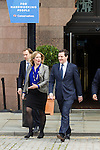 © Joel Goodman - 07973 332324 . No syndication permitted . 30/09/2013 . Manchester , UK . The British Chancellor of the Exchequer , GEORGE OSBORNE , crosses to the conference centre ahead of his address to the conference this morning (Monday 30th September 2013) . Day 2 of the Conservative Party Conference 2013 at Manchester Central . Photo credit : Joel Goodman
