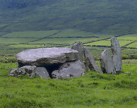 County Kerry, Ireland<br /> Megalithic dolmen (tomb) and remains of a stone circle - stone fences in the distance, Iveragh Peninsula