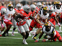 Ohio State Buckeyes wide receiver Parris Campbell (21) returns a kickoff during the first half of the NCAA football game between the Ohio State Buckeyes and the Maryland Terrapins at Ohio Stadium on Saturday, October 7, 2017. [Jonathan Quilter/Dispatch]