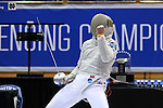 DURHAM, NC - FEBRUARY 26: Notre Dame's Jonah Shainberg reacts after scoring a point in the Men's Saber championship match. The Atlantic Coast Conference Fencing Championships were held on February, 26, 2017, at Cameron Indoor Stadium in Durham, NC.