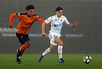 Pictured: Daniel James of Swansea City (R) is chased by Donovan Wilson of Wolverhampton Wanderers Monday 13 March 2017<br /> Re: Premier League 2, Swansea City U23 v Wolverhampton Wanderers FC at the Liberty Stadium, Swansea, UK