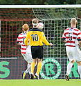 LIVY'S IAIN RUSSELL WATCHES AS HIS LAST MINUTE LOB GOES OVER THE BALL AFTER HE WAS CLEAN THROUGH.09/10/2011  sct_jsp009_hamilton_v_livingston  .Copyright  Pic : James Stewart.James Stewart Photography 19 Carronlea Drive, Falkirk. FK2 8DN      Vat Reg No. 607 6932 25.Telephone      : +44 (0)1324 570291 .Mobile              : +44 (0)7721 416997.E-mail  :  jim@jspa.co.uk.If you require further information then contact Jim Stewart on any of the numbers above.........