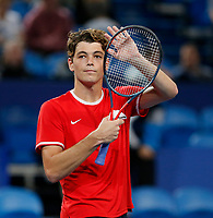 3rd January 2020; RAC Arena, Perth, Western Australia; ATP Cup Australia, Perth, Day 1,; USA v Norway Taylor Fritz of the USA waves to the crowd after winning his first match 2 sets to love against Viktor Durasovic of Norway - Editorial Use