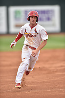 Johnson City Cardinals second baseman Casey Turgeon #8 runs to third during a game against the Bristol Pirates at Howard Johnson Field July 20, 2014 in Johnson City, Tennessee. The Pirates defeated the Cardinals 4-3. (Tony Farlow/Four Seam Images)