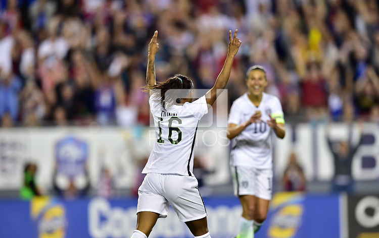 Tampa Bay, FL. - March 3, 2016: The USWNT go up 1-0 over England in second half action in the 2016 SheBelieves Cup  at Raymond James Stadium.