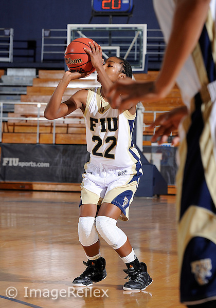 Florida International University guard Jerica Coley (22) plays against California State University Bakersfield.  Bakersfield won the game 68-64 on December 3, 2010 at Miami, Florida. .