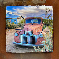"""Sticky Situation - Mixed Media - Arizona - Chevy<br /> <br /> Each unique piece is made to order. If I have the piece in stock I can ship it in 2-3 days. If I don't have it in stock and it has to be made, it will ship in 1-2 weeks. Feel free to contact me at chey.rouse@gmail.com before you order if you need the piece ASAP. <br /> <br /> The photograph is printed on a Silk photo paper, the edges of the photo are torn, photo is mounted to foam board, then I mount it to an 8""""x8"""" piece of rusted metal. The rust is unique on each piece...no two pieces are alike. PLEASE keep in mind that the rust on the piece(s) you receive may be slightly different than the photo. Each piece of metal is sealed after it is done """"rusting"""" and is titled, hand signed and, ready to hang. To see the detail for theses Mixed Media pieces please click on the 1st photo in this gallery. You will be able to see the detail of the torn paper edge as well as the back of the piece."""