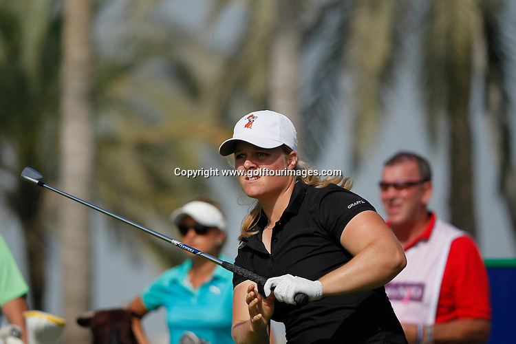 Katie BURNETT (USA) during round four of the 2014 Omega Dubai Ladies Masters being played over the Majlis Course, Emirates Golf Club, Dubai from 10th to 13th December 2014: Picture Stuart Adams, www.golftourimages.com: 13-Dec-14