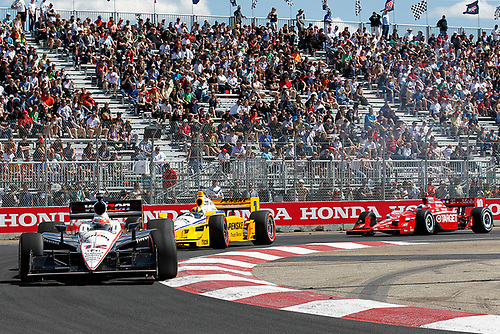 22-24, July, 2011, Edmonton, Alberta, Canada<br /> Will Power leads Helio Castroneves and Dario Franchitti<br /> (c) 2011 Perry Nelson<br /> LAT Photo USA