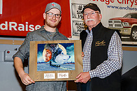The PenAir Spirit of Alaska Award is Presented by Dave Hall,&nbsp;chief operating officer of PenAir to Wade Marrs at the Nome Musher's Award Banquet during the 2017 Iditarod on Sunday March 19, 2017.<br /> <br /> Photo by Jeff Schultz/SchultzPhoto.com  (C) 2017  ALL RIGHTS RESERVED