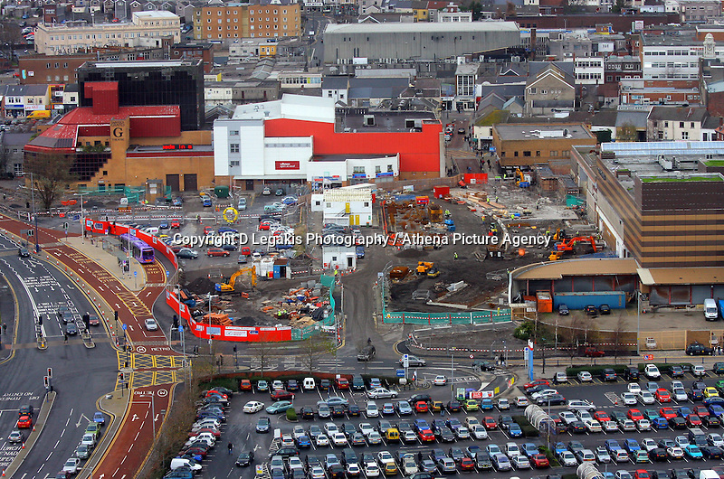 Pictured: Quadrant bus station works under way grand theatre general view of Swansea as seen from the Penthouse restaurant<br />