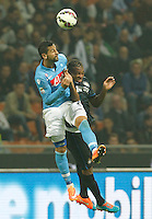 Miguel Britos   Gary Medel during the Italian serie A   soccer match between SSC Napoli and Inter    at  the San Siro    stadium in Milan  Italy , Octoberr 19 , 2014