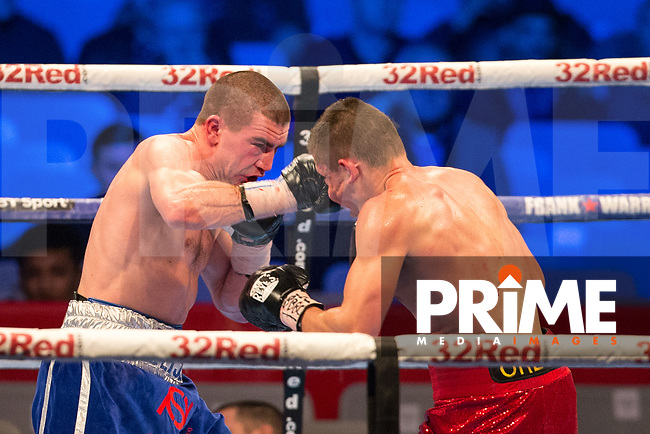 THE VACANT IBF EUROPEAN WELTERWEIGHT CHAMPIONSHIP 12 X 3 Minute Rounds JOHNNY GARTON (left) 10st 6lbs V MIHAIL ORLOV 10st 6lbs 8oz during the Boys are back in town - Frank Warren Boxing event at the Copper Box Arena, London, England on 9 December 2017. Photo by Andy Rowland.