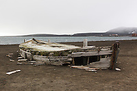 A ruined water boat  at Whalers Bay on Deception Island stands testament to the whaling industry of the early 1900's.  Deception Island is the site of an abandoned Norwegian whaling base established in 1911.