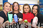 Amy Doran, left andKatie o'Loughlin, right, pictured with Madeline Griffin, assistant manager McSweeneys Pharmacy and Denise McSweeney, Biotherm consultant, at the launch of the Boithern range, which is exclusive to McSweeneys Pharmacy in Killarney....