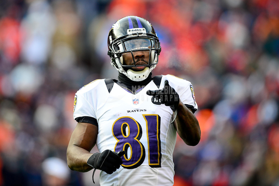 Jan 12, 2013; Denver, CO, USA; Baltimore Ravens wide receiver Anquan Boldin (81) in the first half against the Denver Broncos during the AFC divisional round playoff game at Sports Authority Field.  Mandatory Credit: Mark J. Rebilas-