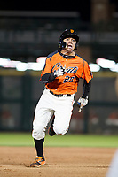 AZL Giants center fielder Ismael Munguia (29) hustles towards third base against the AZL Rangers on September 4, 2017 at Scottsdale Stadium in Scottsdale, Arizona. AZL Giants defeated the AZL Rangers 6-5 to advance to the Arizona League Championship Series. (Zachary Lucy/Four Seam Images)