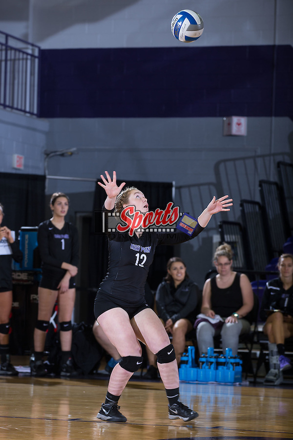 Greta Griswold (12) of the High Point Panthers during the match against the Marshall Thundering Herd at the Panther Invitational at the Millis Athletic Center on September 12, 2015 in High Point, North Carolina.  The Thundering Herd defeated the Panthers 3-2.   (Brian Westerholt/Sports On Film)