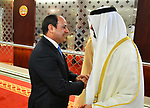 Egyptian President Abdel Fattah al-Sisi shakes hands with Abu Dhabi Crown Prince Mohammed bin Zayed al-Nahyan, in Abu Dhabi, United Arab Emirates on February 06, 2018. Photo by Egyptian President Office