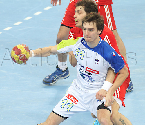 25.01.2013 Barcelona, Spain. IHF men's world championship, 3-4th place match.  Picture shows Sebastian Skube in action during game between Slovenia versus Croatia at Palau St. Jordi Croatia won the match by a score of 31-26 and took 3rd place.